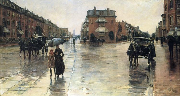 A Rainy Day in Boston , 1885